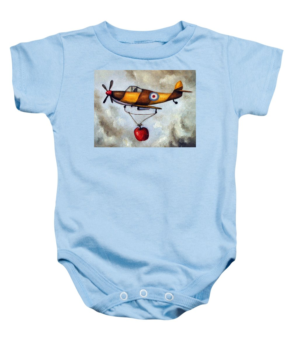 Plane Baby Onesie featuring the painting Amazing Race 4 by Leah Saulnier The Painting Maniac