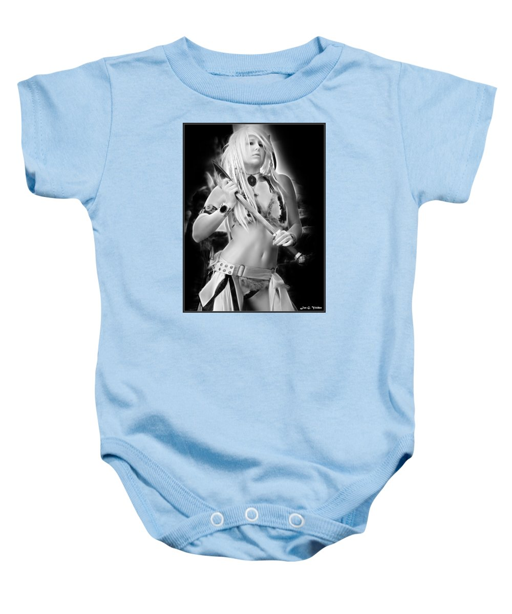 Fantasy Baby Onesie featuring the painting Amazon With An Axe by Jon Volden