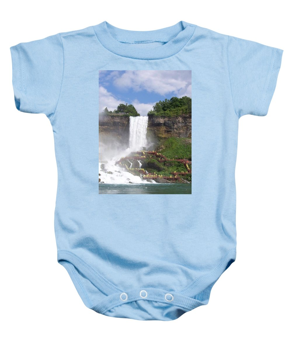 Niagra Falls Baby Onesie featuring the photograph American Falls At Niagra by Laurie Paci