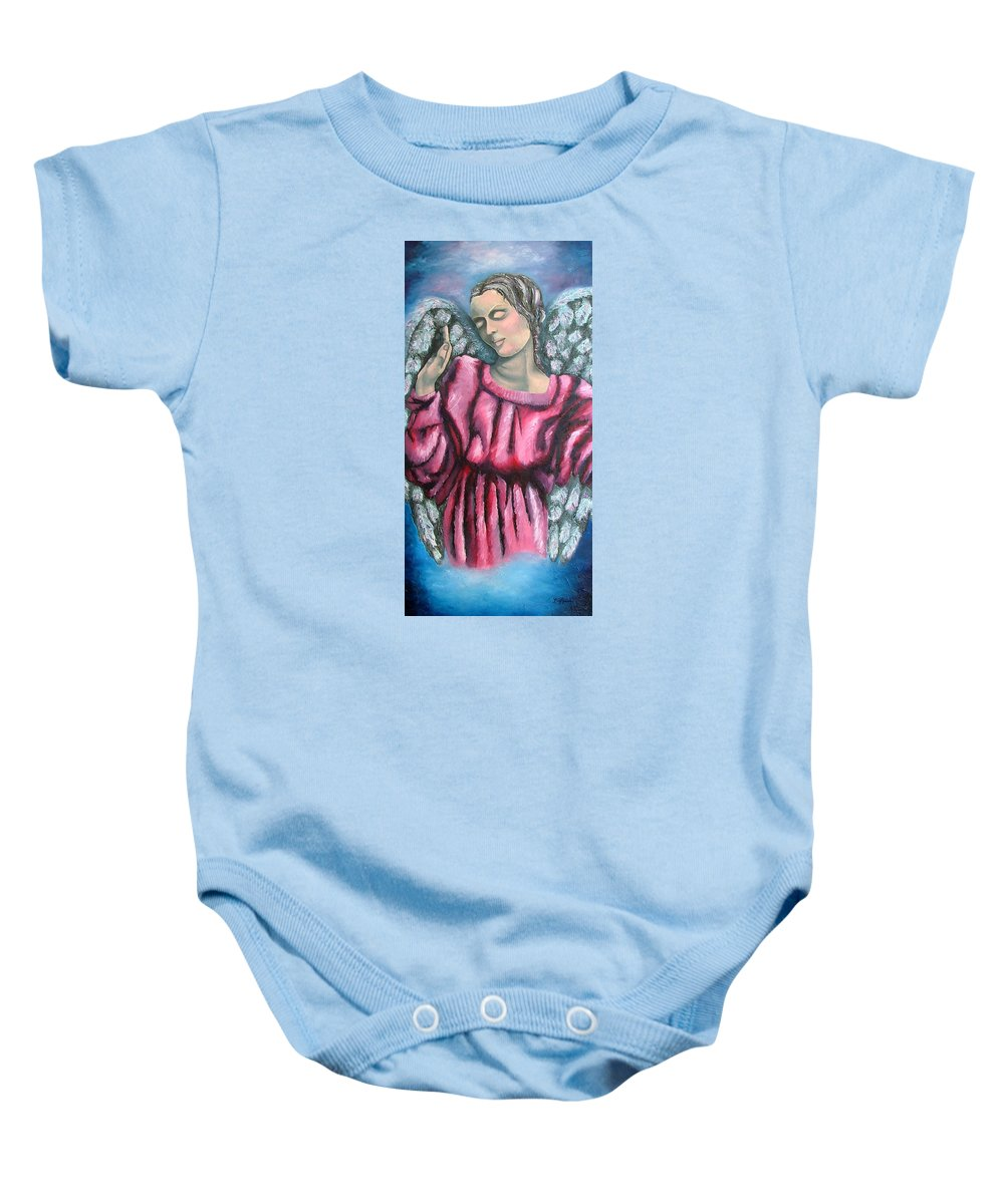 Angel Baby Onesie featuring the painting Angel Of Hope by Elizabeth Lisy Figueroa