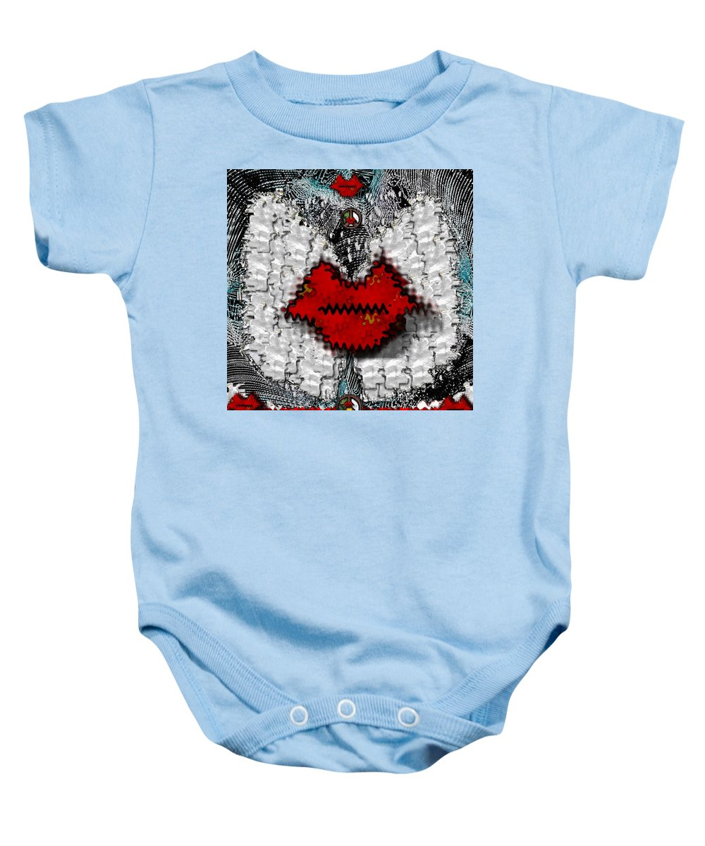 Angel Baby Onesie featuring the mixed media Angel Wings Brings Love And Peace by Pepita Selles