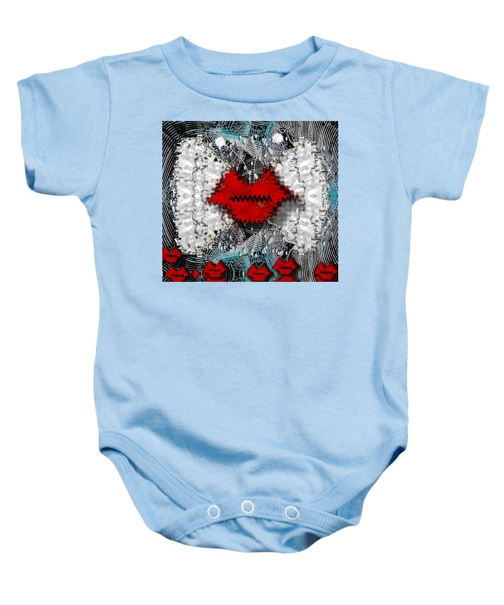 Wings Baby Onesie featuring the mixed media Angel Wings Comes In Love by Pepita Selles