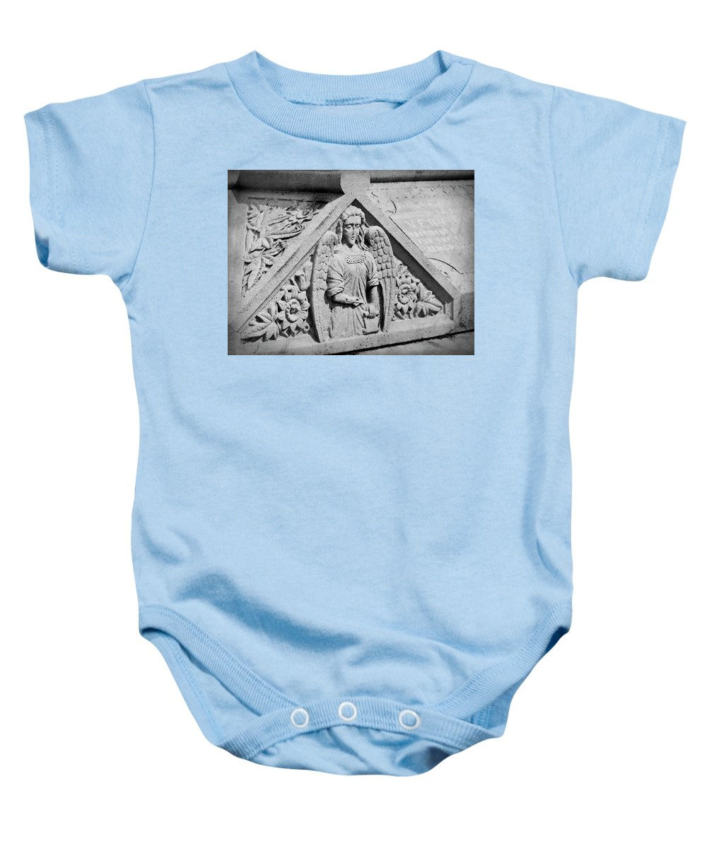 Ireland Baby Onesie featuring the photograph Angel With Scroll Carving by Teresa Mucha
