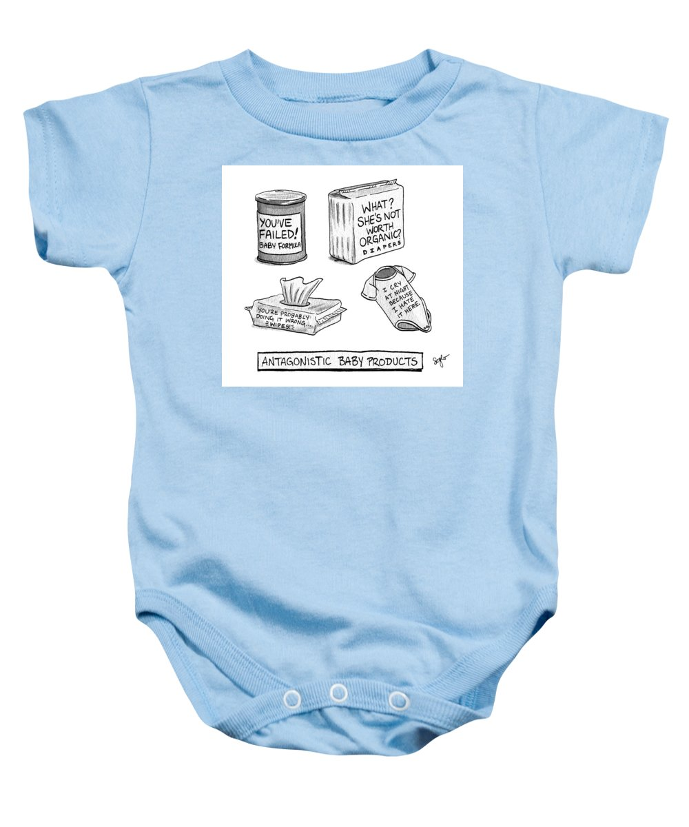 Antagonistic Baby Products Baby Onesie featuring the drawing Antagonistic Baby Products by Sophia Wiedeman