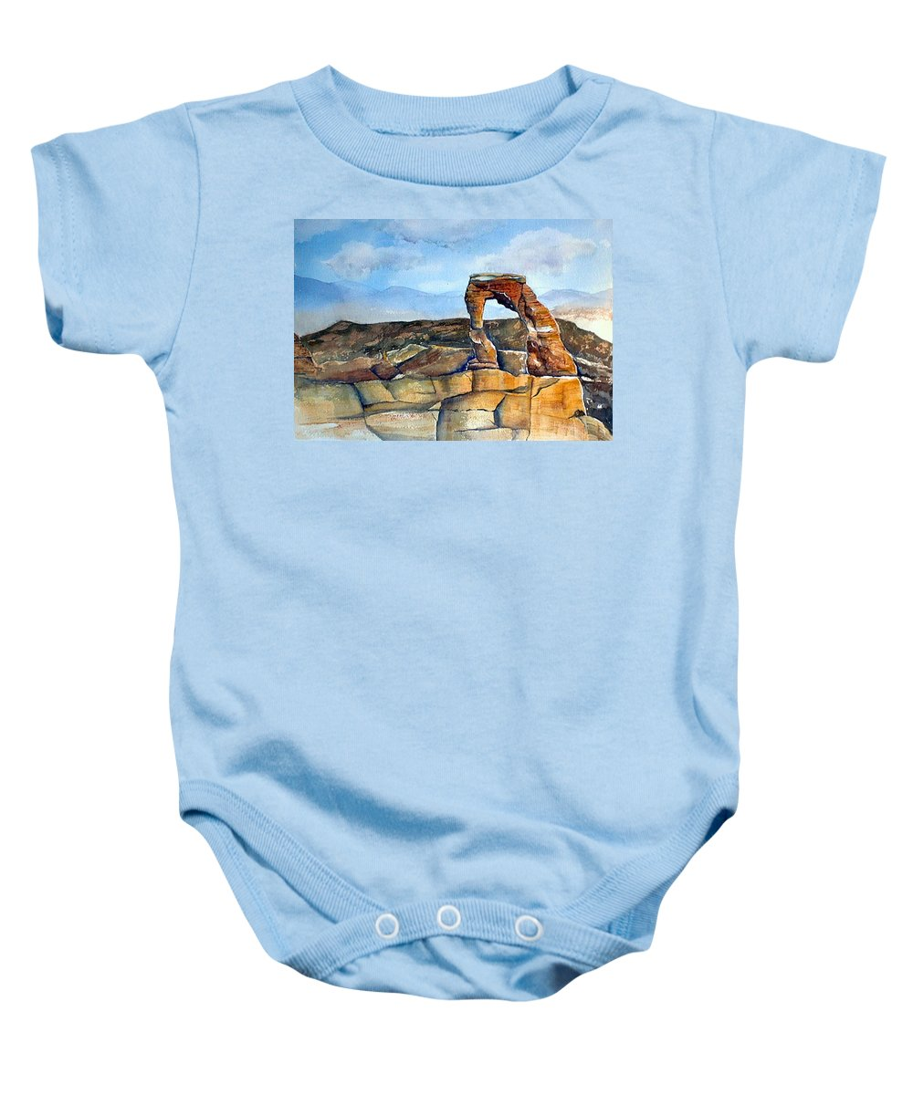 Arches National Park Baby Onesie featuring the painting Arches National Park by Debbie Lewis