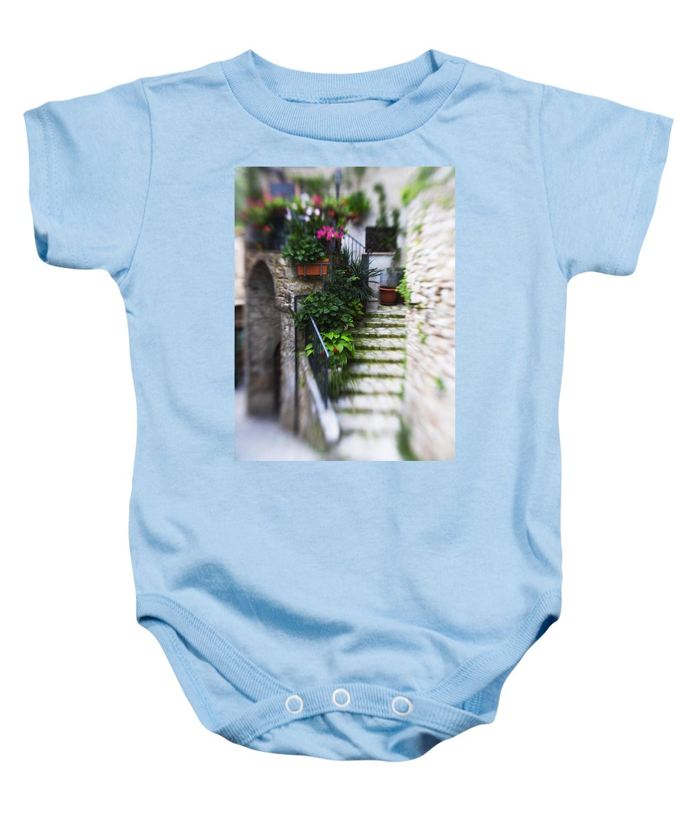 Italy Baby Onesie featuring the photograph Archway And Stairs by Marilyn Hunt