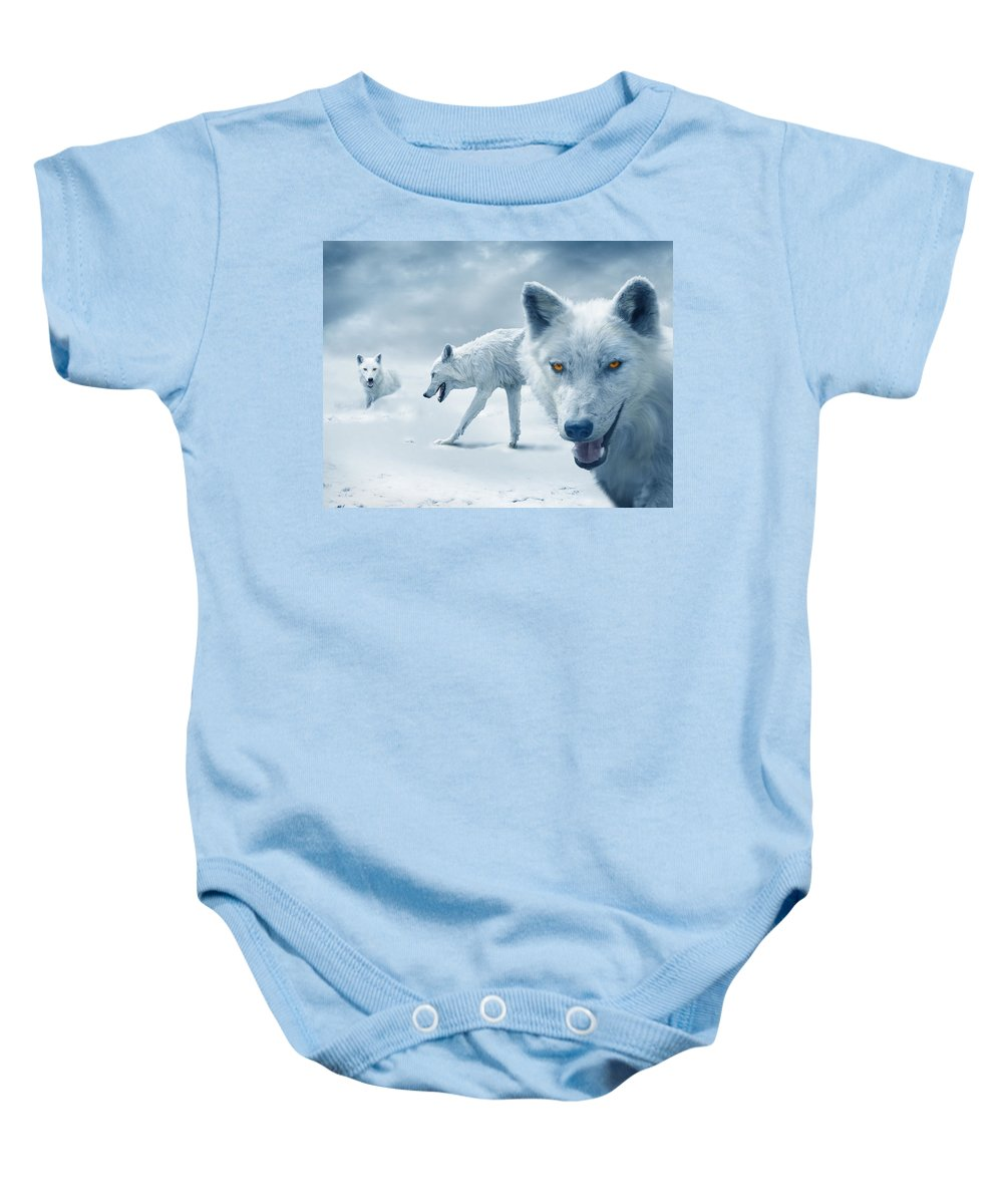 Arctic Baby Onesie featuring the photograph Arctic Wolves by Mal Bray