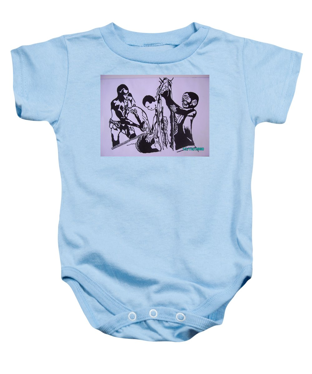 Festival Baby Onesie featuring the painting Argungun Fish Festival by Olaoluwa Smith