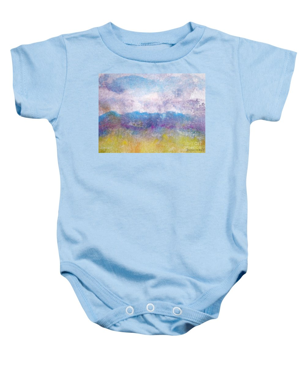 Abstract Baby Onesie featuring the painting Arizona Impressions by Jan Bennicoff