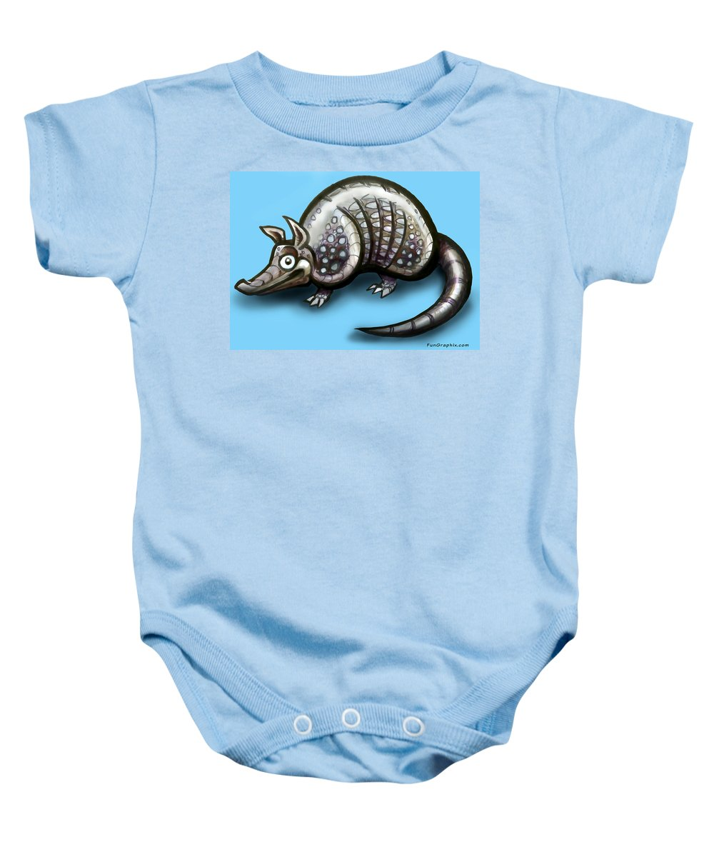 Armadillo Baby Onesie featuring the greeting card Armadillo by Kevin Middleton