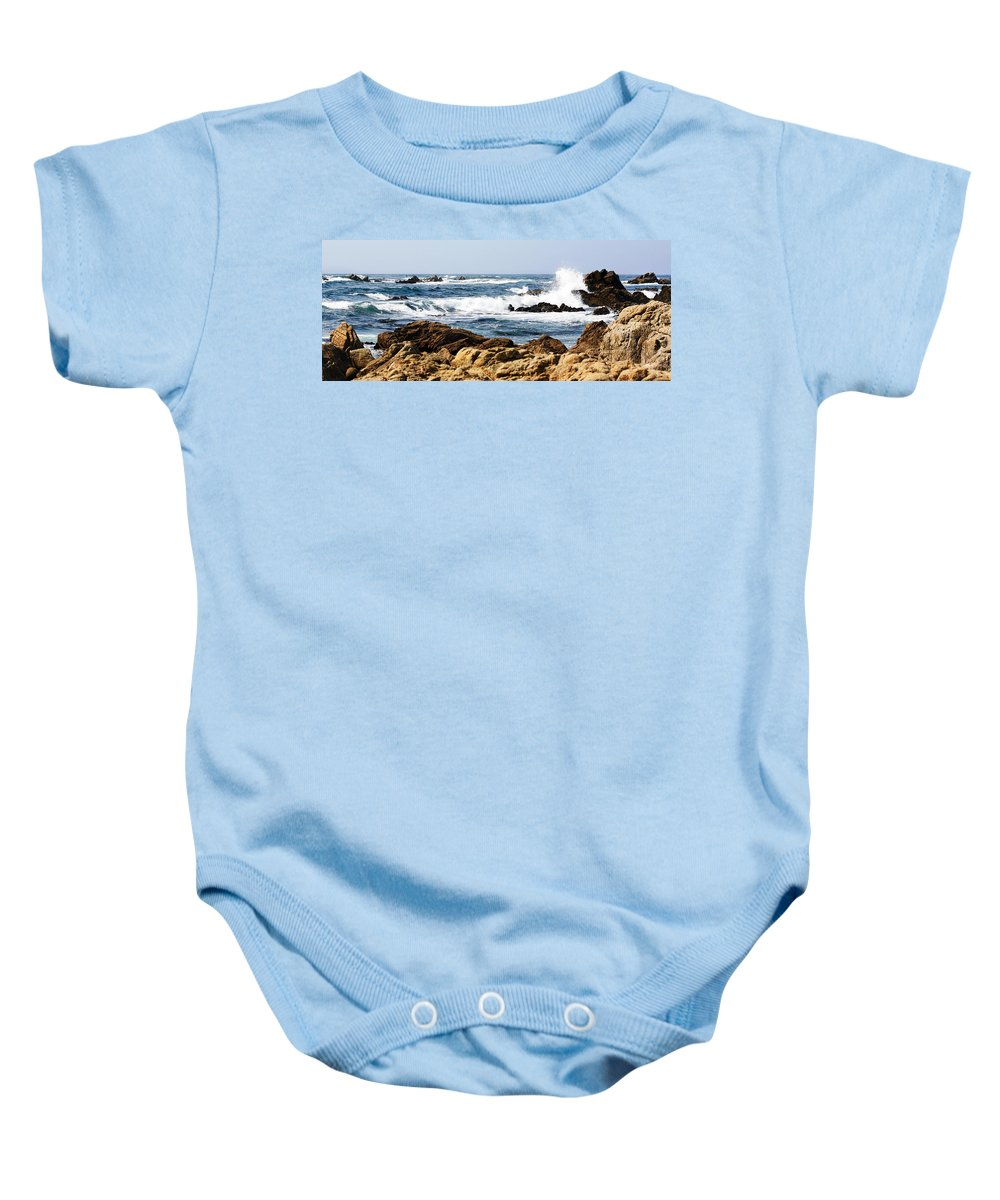 Tide Baby Onesie featuring the photograph Arriving Tide At Pebble Beach by Marilyn Hunt