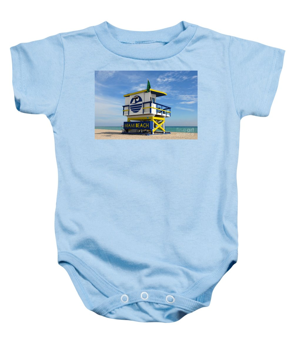 Miami Beach Baby Onesie featuring the photograph Art Deco Lifeguard Stand by David Lee Thompson