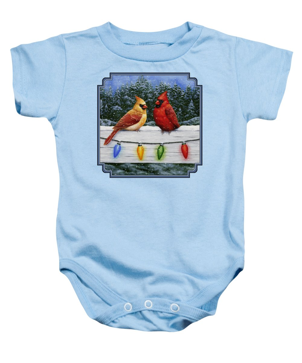 bdc8022ac Bird Painting - Christmas Cardinals Onesie for Sale by Crista Forest