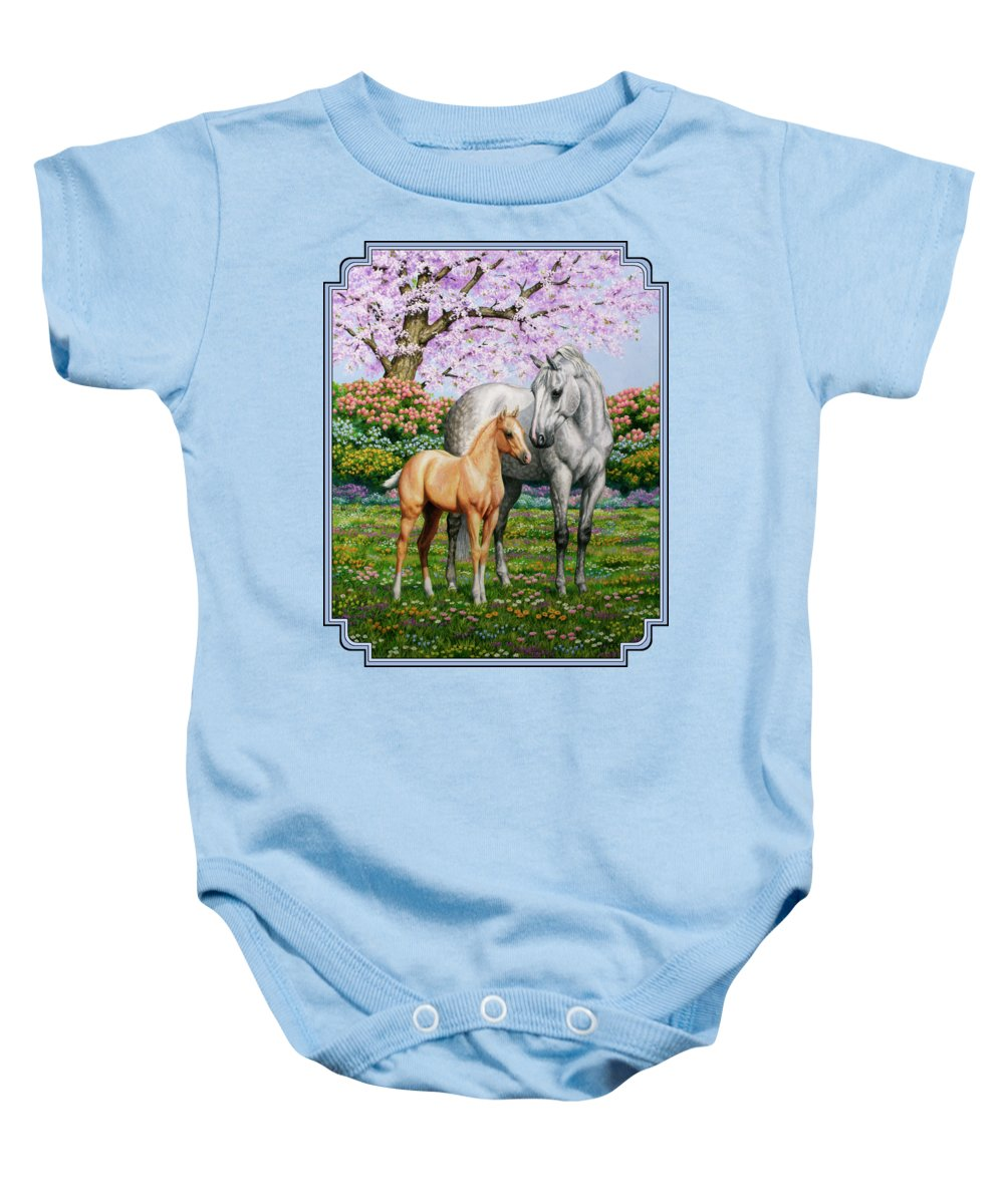 Horse Baby Onesie featuring the painting Spring's Gift - Mare And Foal by Crista Forest