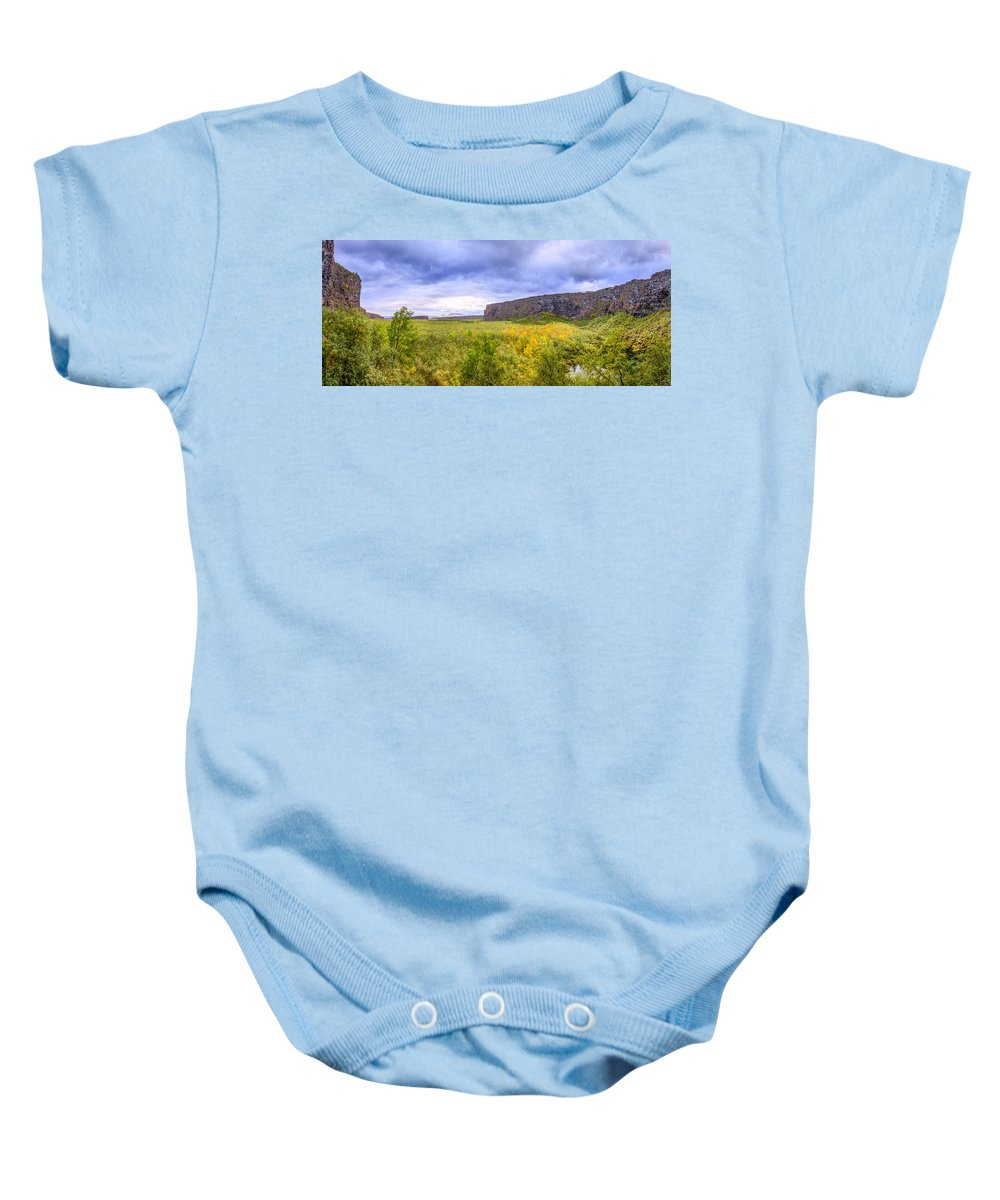 Asbyrgi Baby Onesie featuring the photograph Asbyrgi Canyon by Alexey Stiop