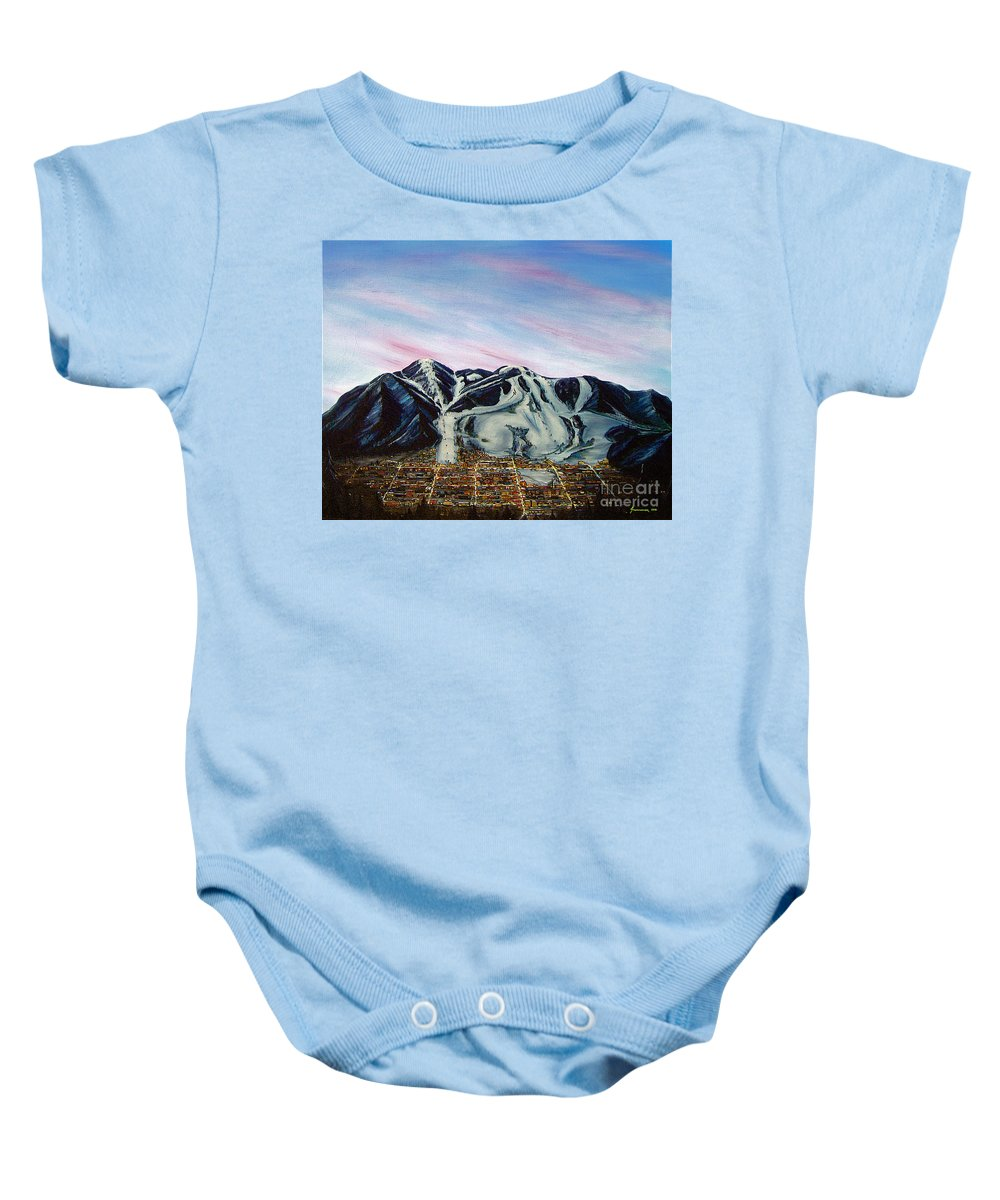 Aspen Baby Onesie featuring the painting Aspen by Jerome Stumphauzer