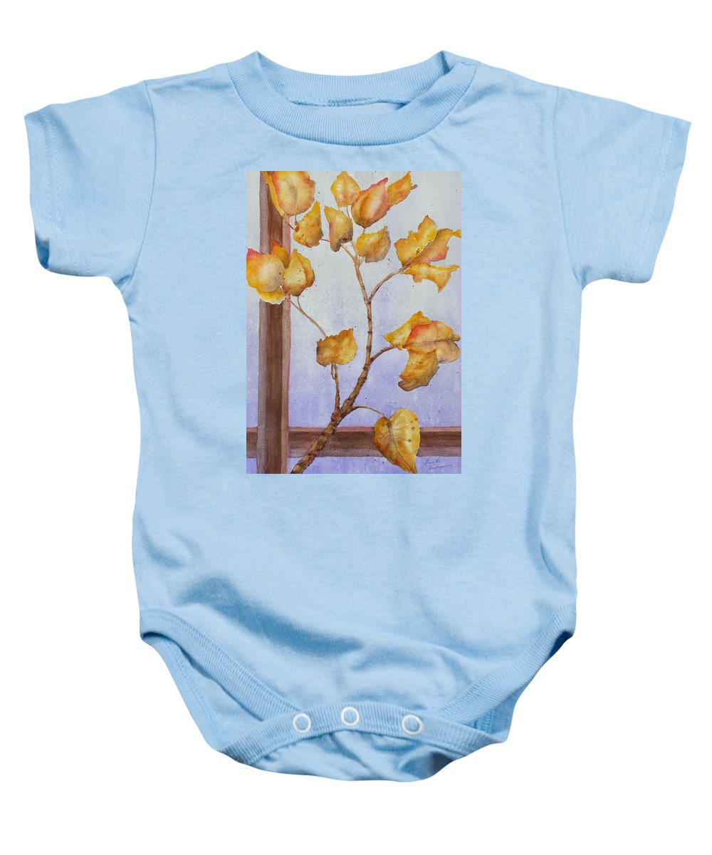 Leaves Baby Onesie featuring the painting Aspen by Ruth Kamenev