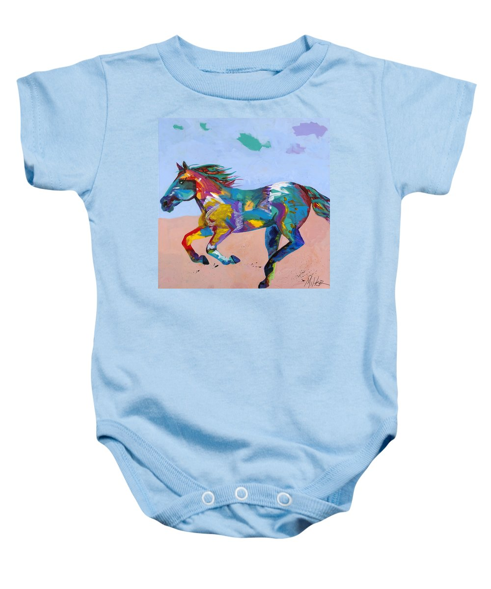 Horse Baby Onesie featuring the painting At Full Gallop by Tracy Miller
