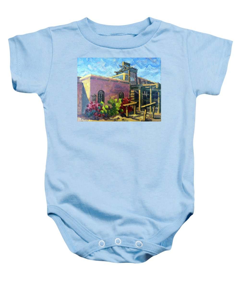 Plein Air Baby Onesie featuring the painting At Old Tucson by Ralph Papa