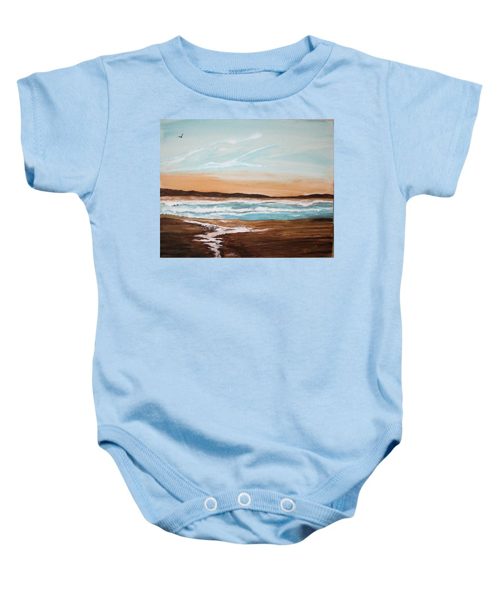 Landscape Baby Onesie featuring the painting At The Beach by Maris Sherwood