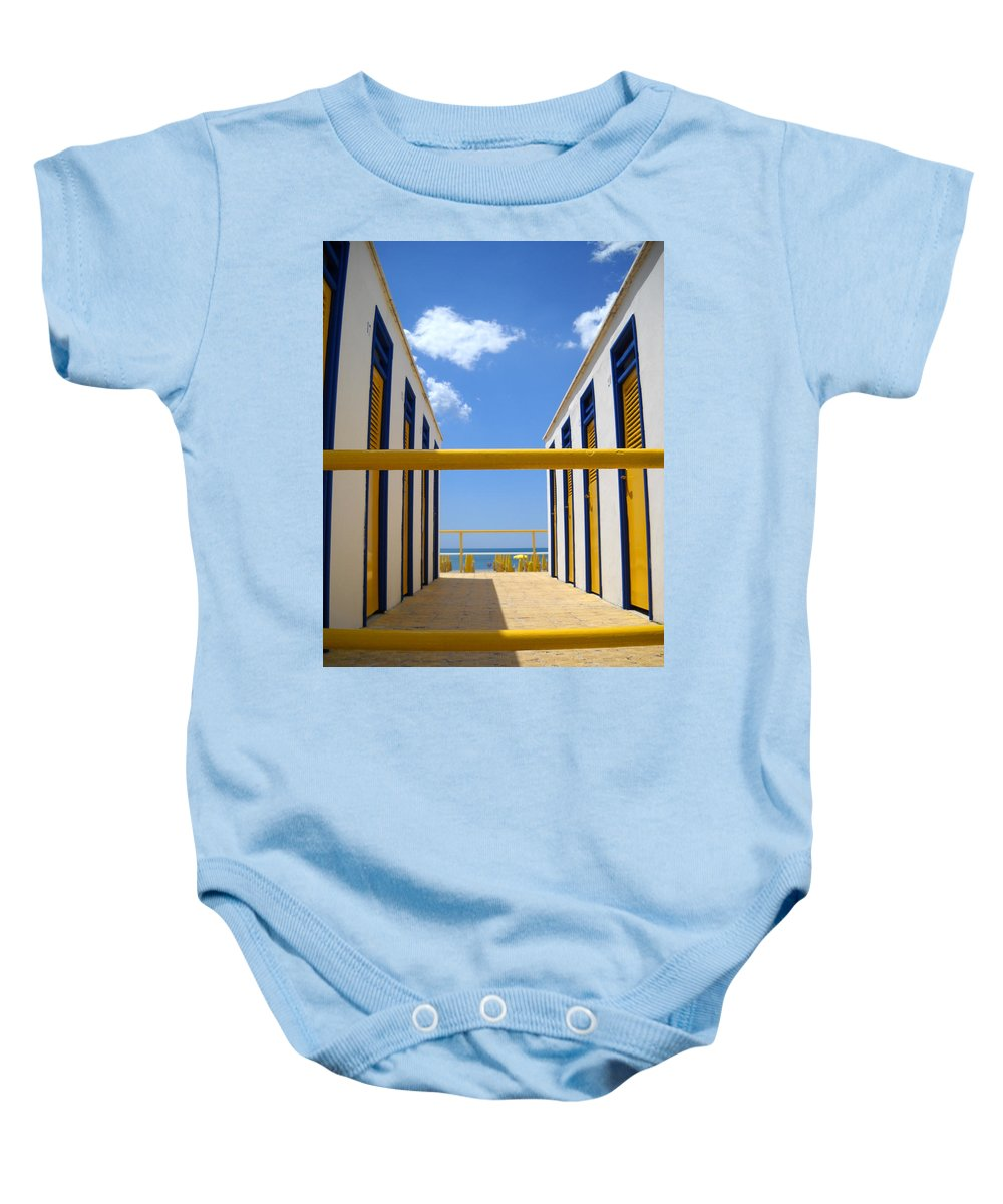 Blue Baby Onesie featuring the photograph At The Seashore 2 by Tom Reynen