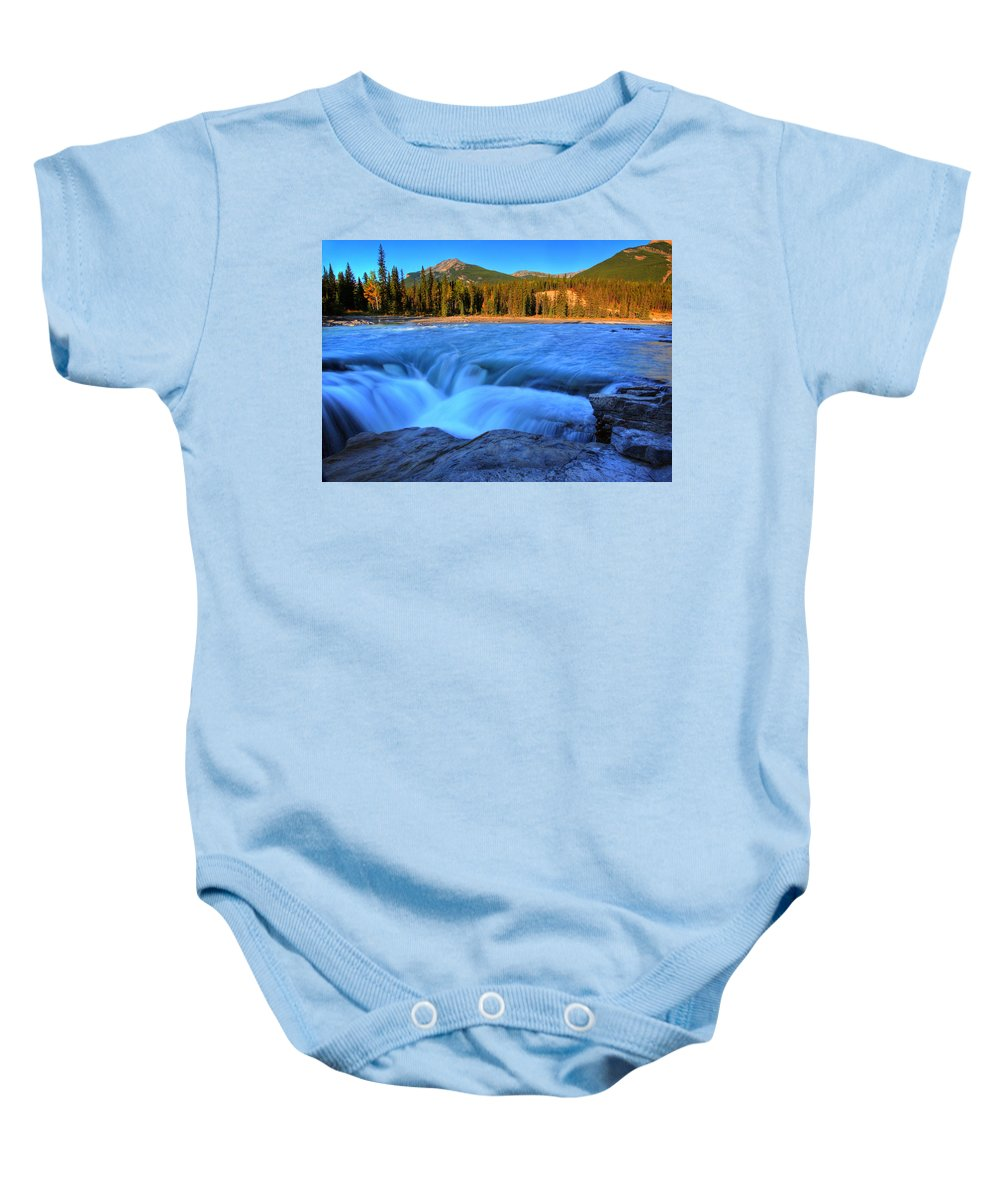 Athabasca River Baby Onesie featuring the digital art Athabasca Falls In Jasper National Park by Mark Duffy