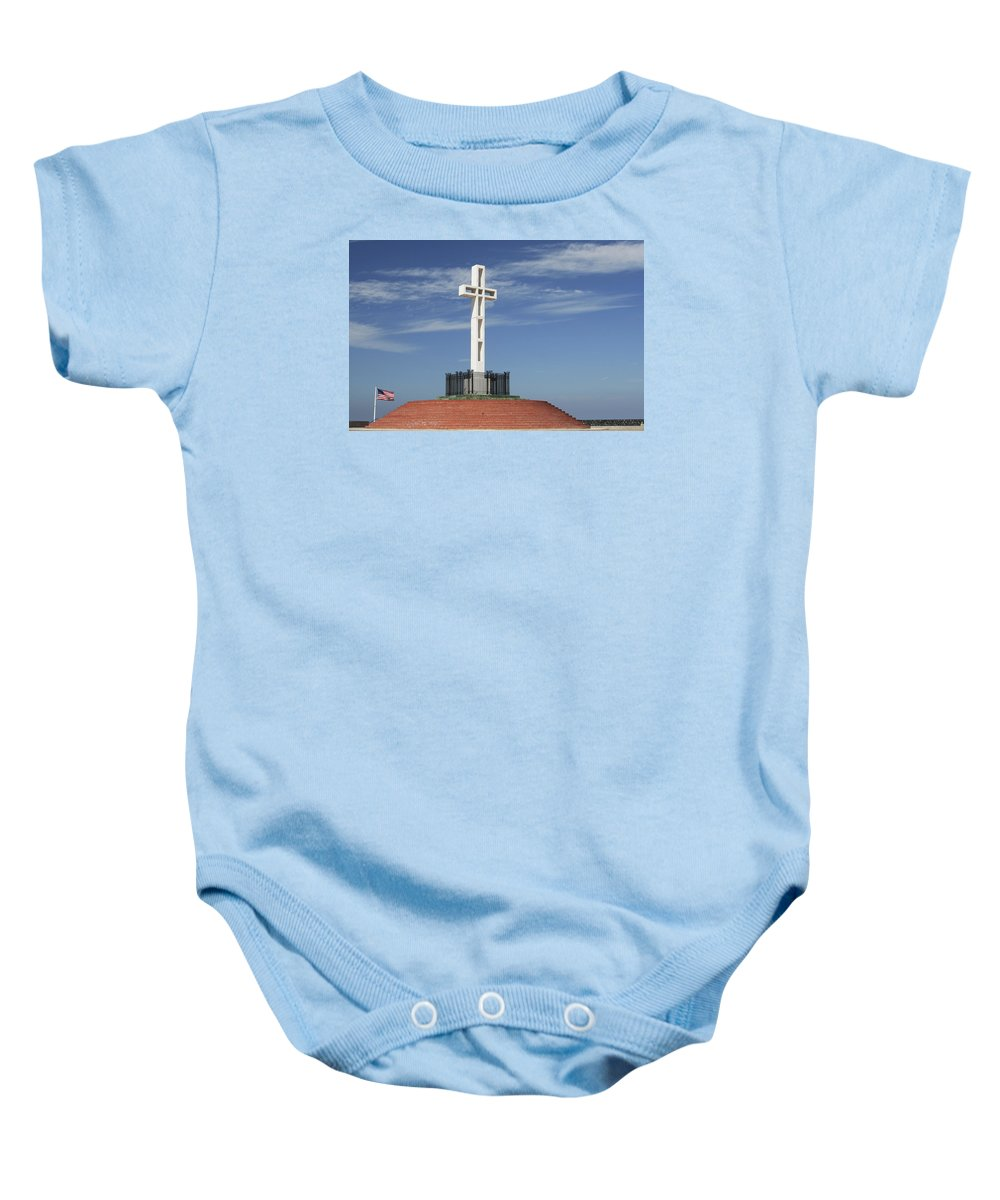 Mt Soledad Baby Onesie featuring the photograph Atop Mt Soledad by Margie Wildblood