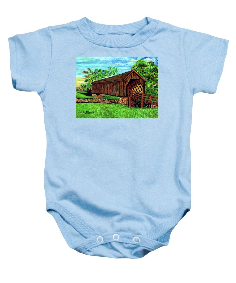 Everett Spruill Baby Onesie featuring the painting Auchumpkee Creek Covered Bridge by Everett Spruill