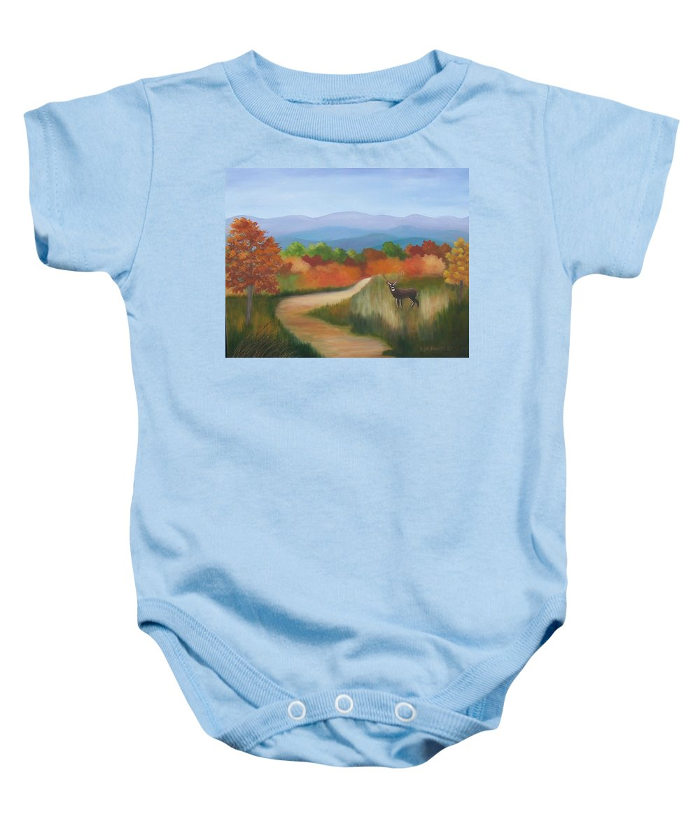Mountains Baby Onesie featuring the painting Autumn In Blue Ridge Mountains Virginia by Ruth Housley