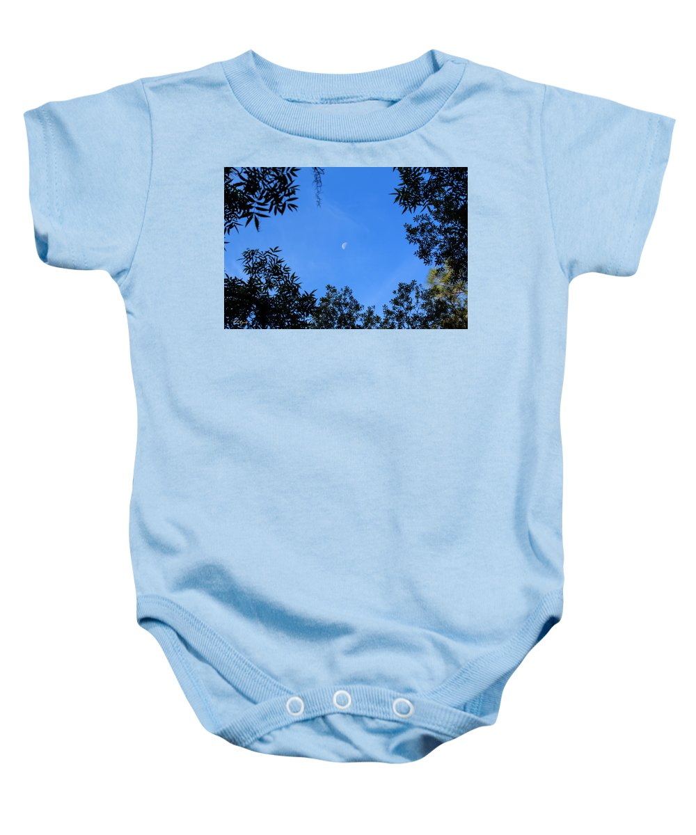 Florida Baby Onesie featuring the photograph Babcock Wilderness Ranch - Daytime Moon Over Babcock by Ronald Reid