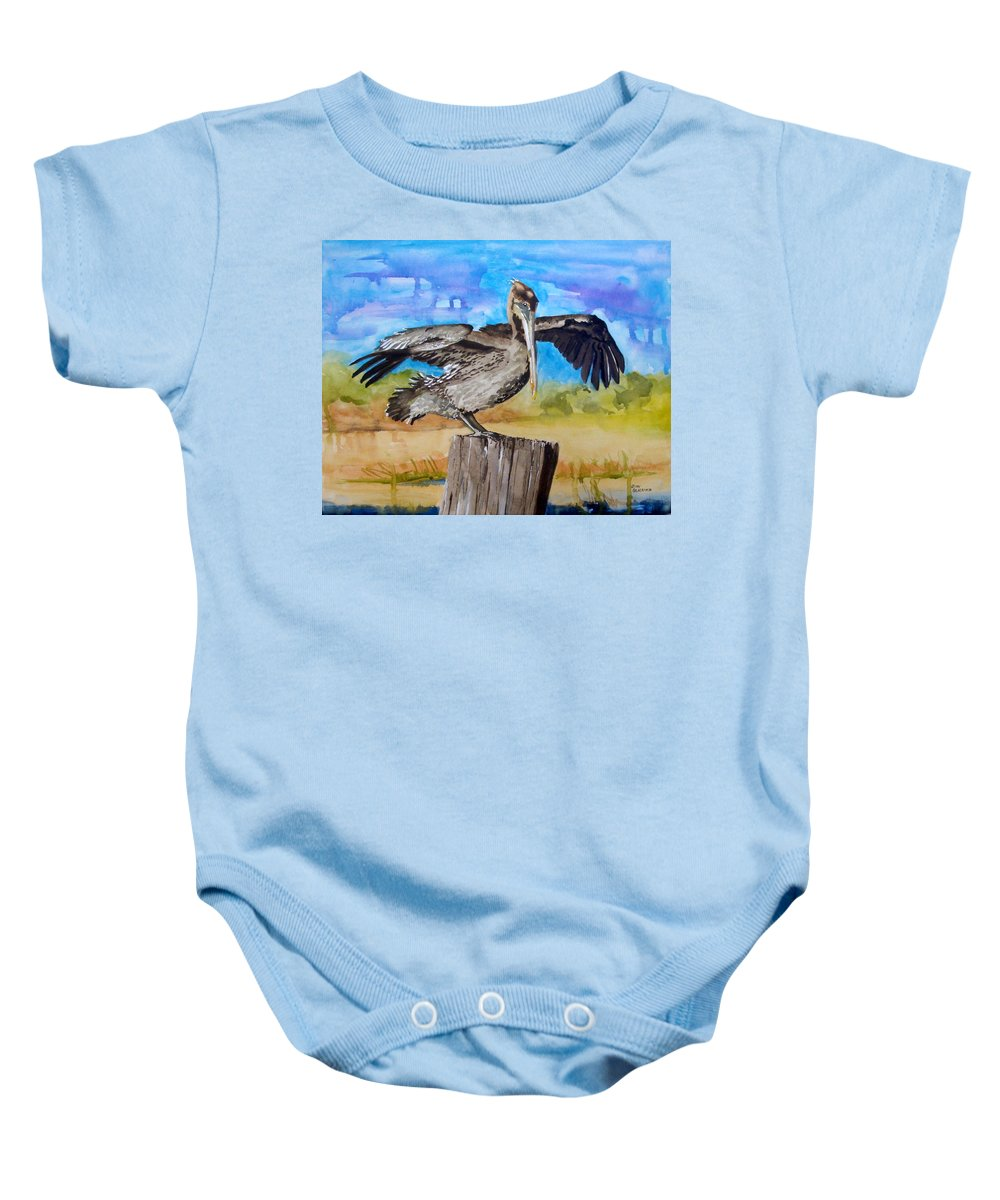 Pelican Baby Onesie featuring the painting Baby Spreads His Wings by Jean Blackmer