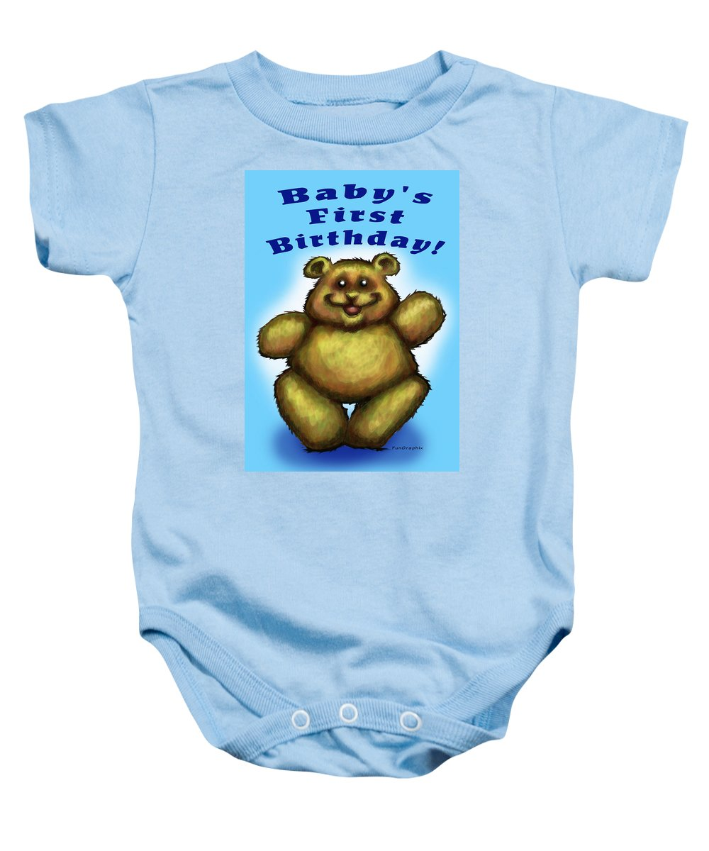 Baby Baby Onesie featuring the greeting card Babys First Birthday by Kevin Middleton
