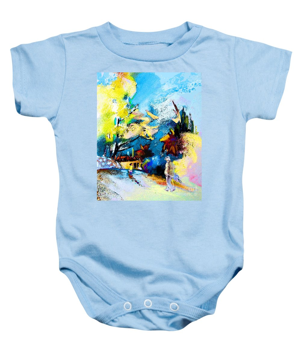 Pastel Painting Baby Onesie featuring the painting Back Home by Miki De Goodaboom