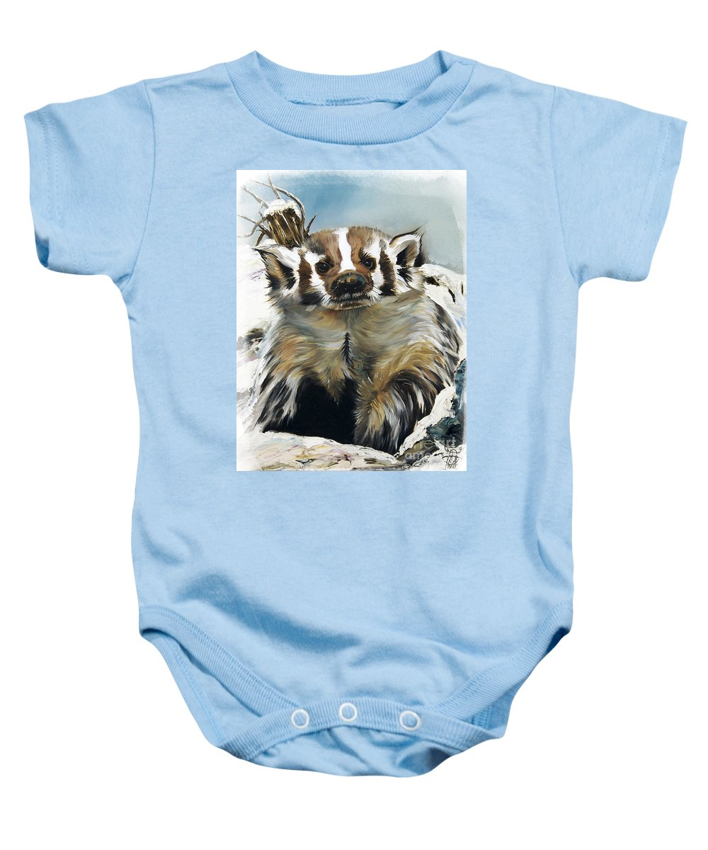 Southwest Art Baby Onesie featuring the painting Badger - Guardian Of The South by J W Baker