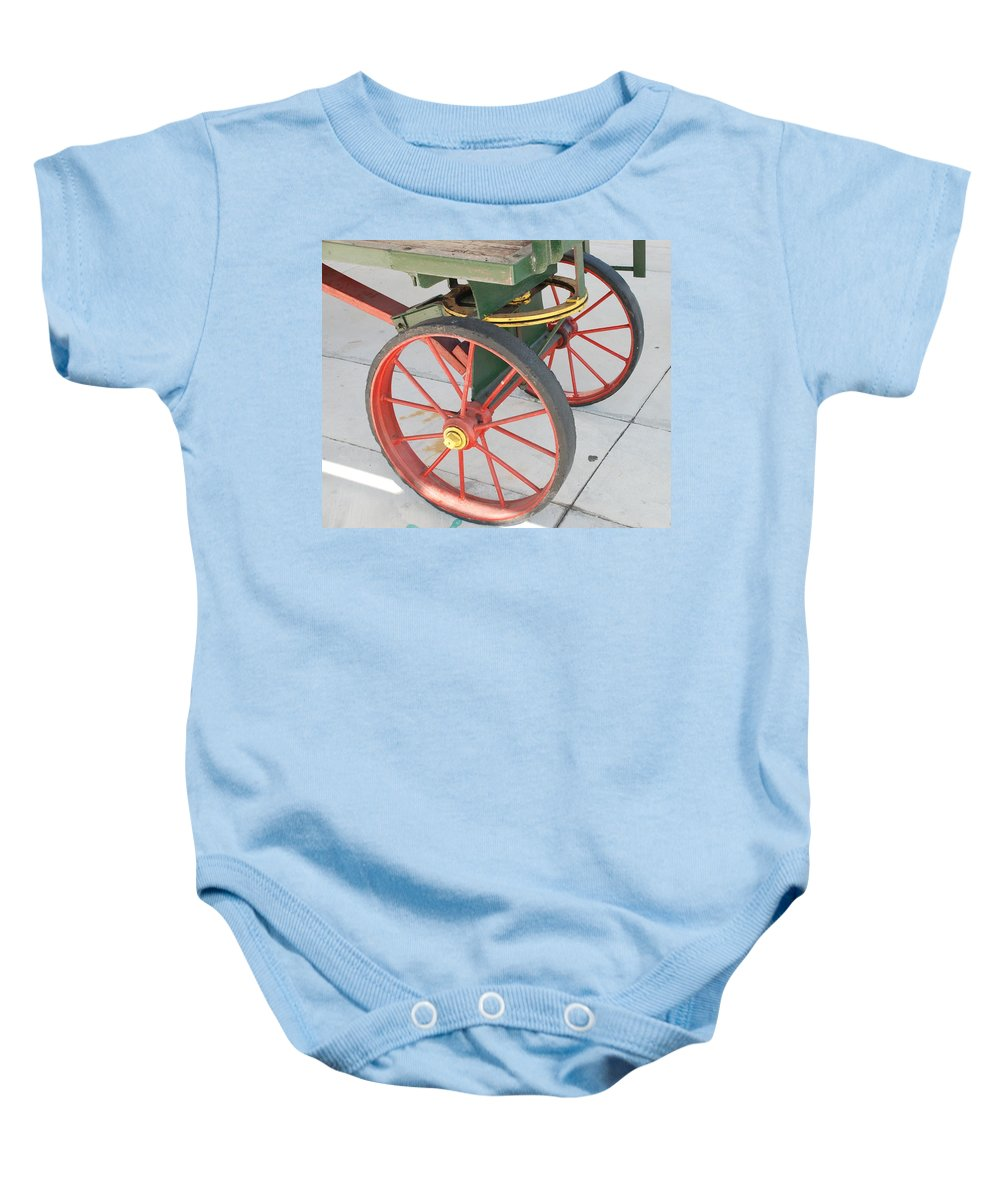 Baggage Cart Baby Onesie featuring the photograph Baggage Cart by Rob Hans