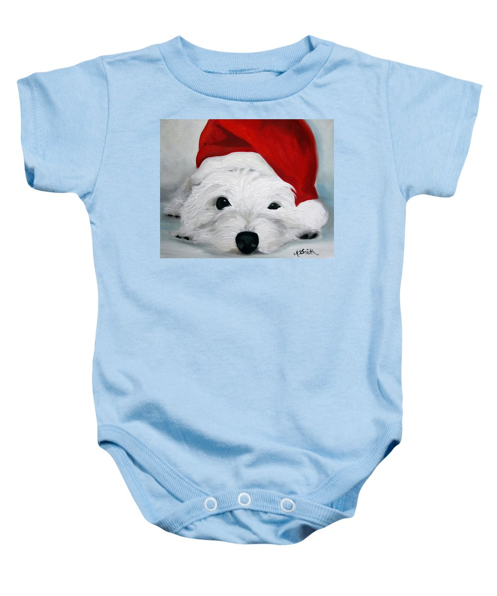 Art Baby Onesie featuring the painting Bah Humbug by Mary Sparrow