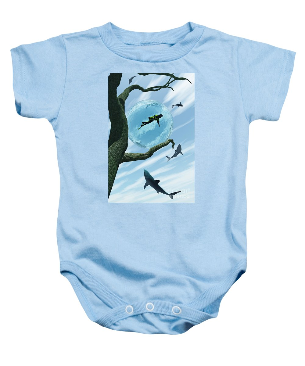 Surreal Baby Onesie featuring the digital art Bait by Richard Rizzo