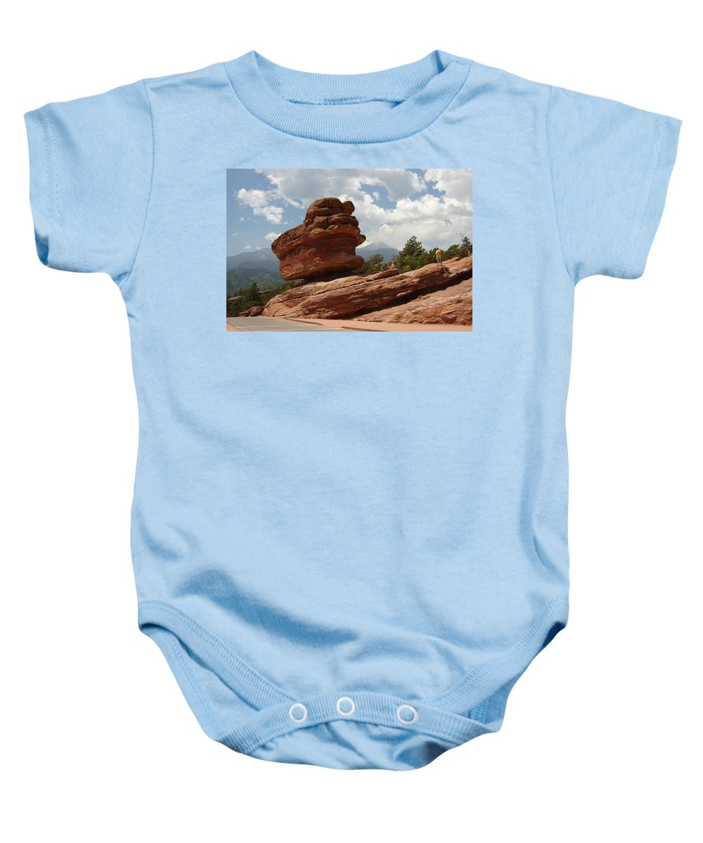 Colorado Baby Onesie featuring the photograph Balance Rock by Anita Burgermeister