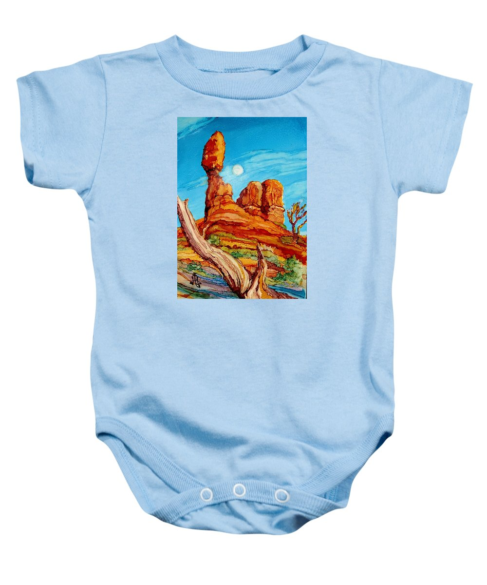 Arches National Park Baby Onesie featuring the painting Balanced Rock by Diane Bay
