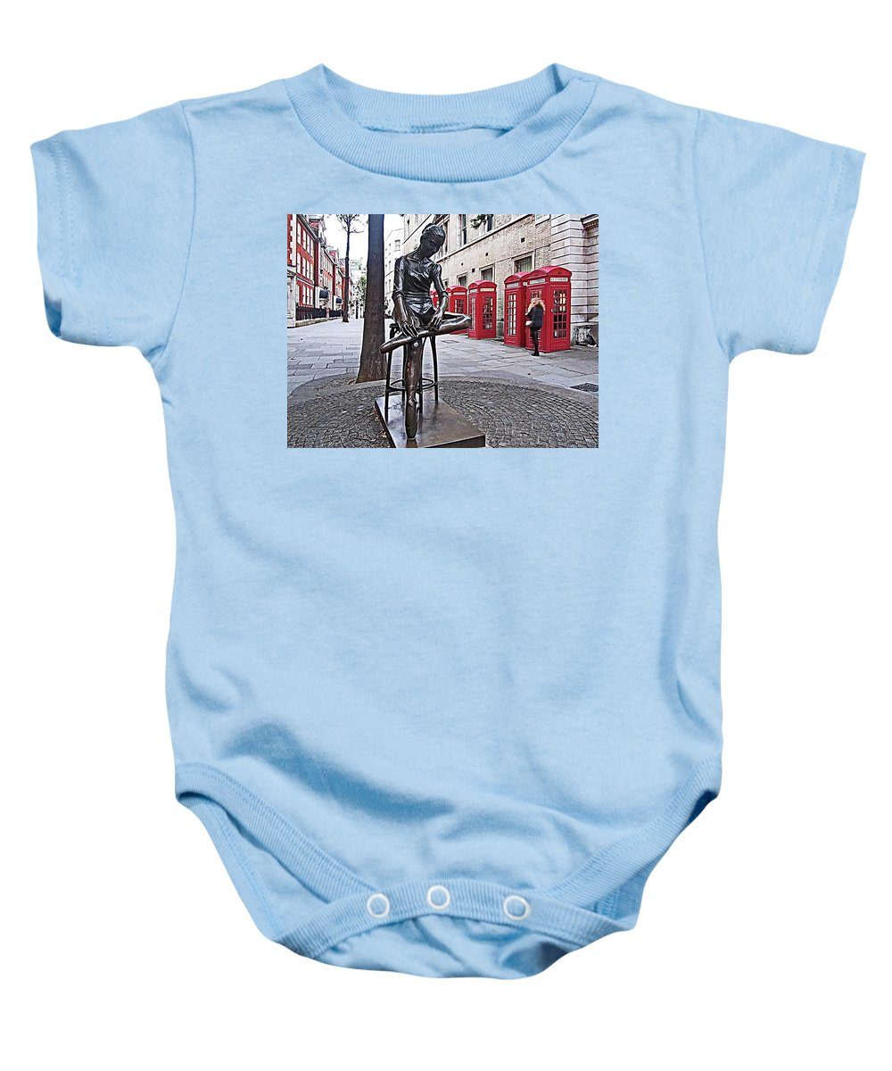 Young Dancer Baby Onesie featuring the photograph Ballerina Statue And Telephone Boxes by Lyuba Filatova