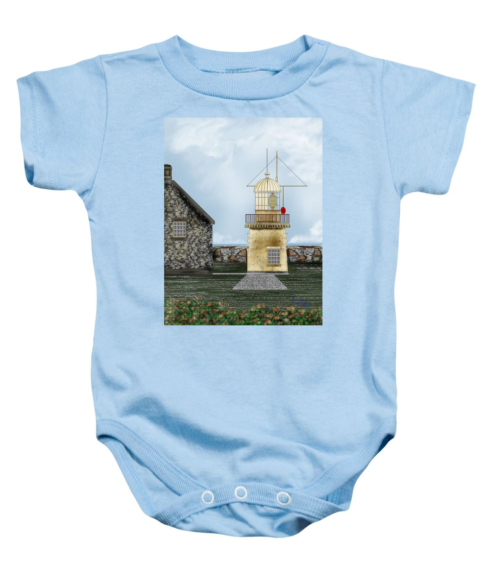 Lighthouse Baby Onesie featuring the painting Ballinacourty Lighthouse At Waterford Ireland by Anne Norskog