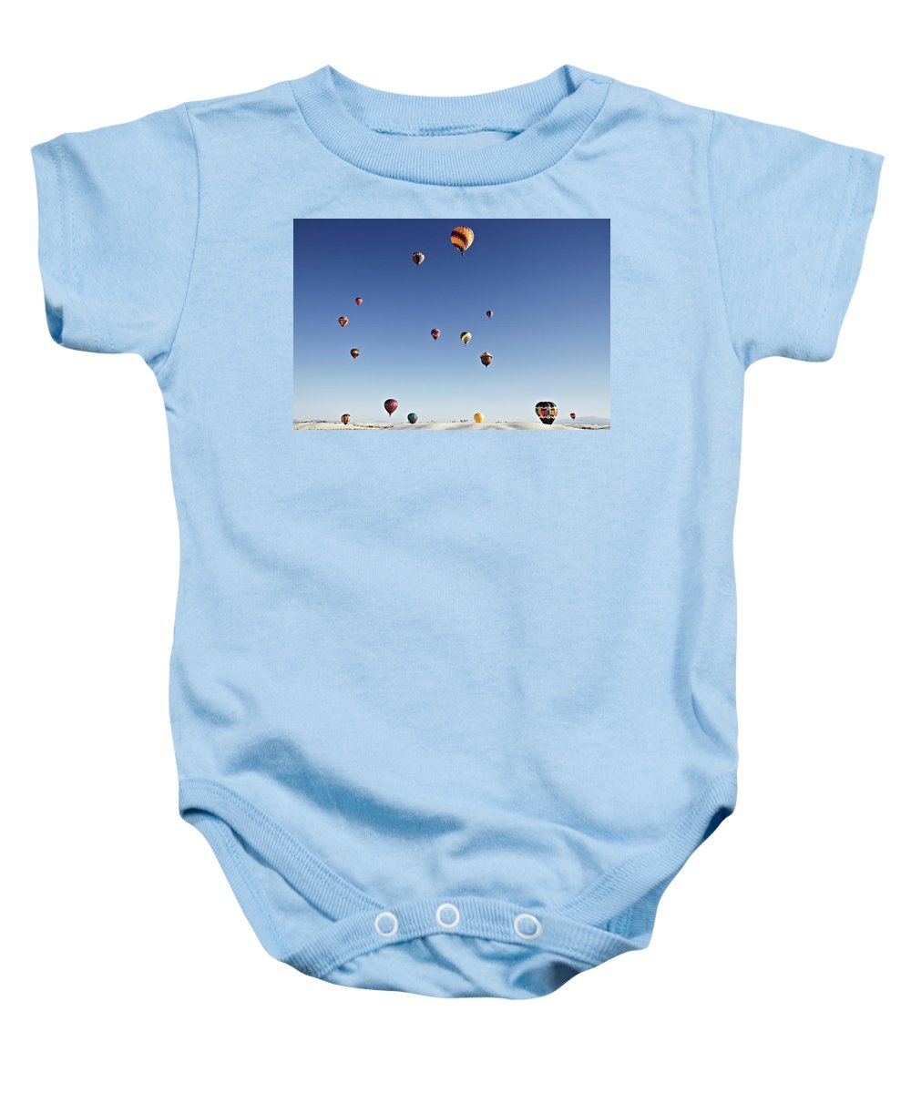 Balloon Baby Onesie featuring the photograph Balloon Fiesta On White Sands National Monument, September 19, 2 by Tjeerd Kruse