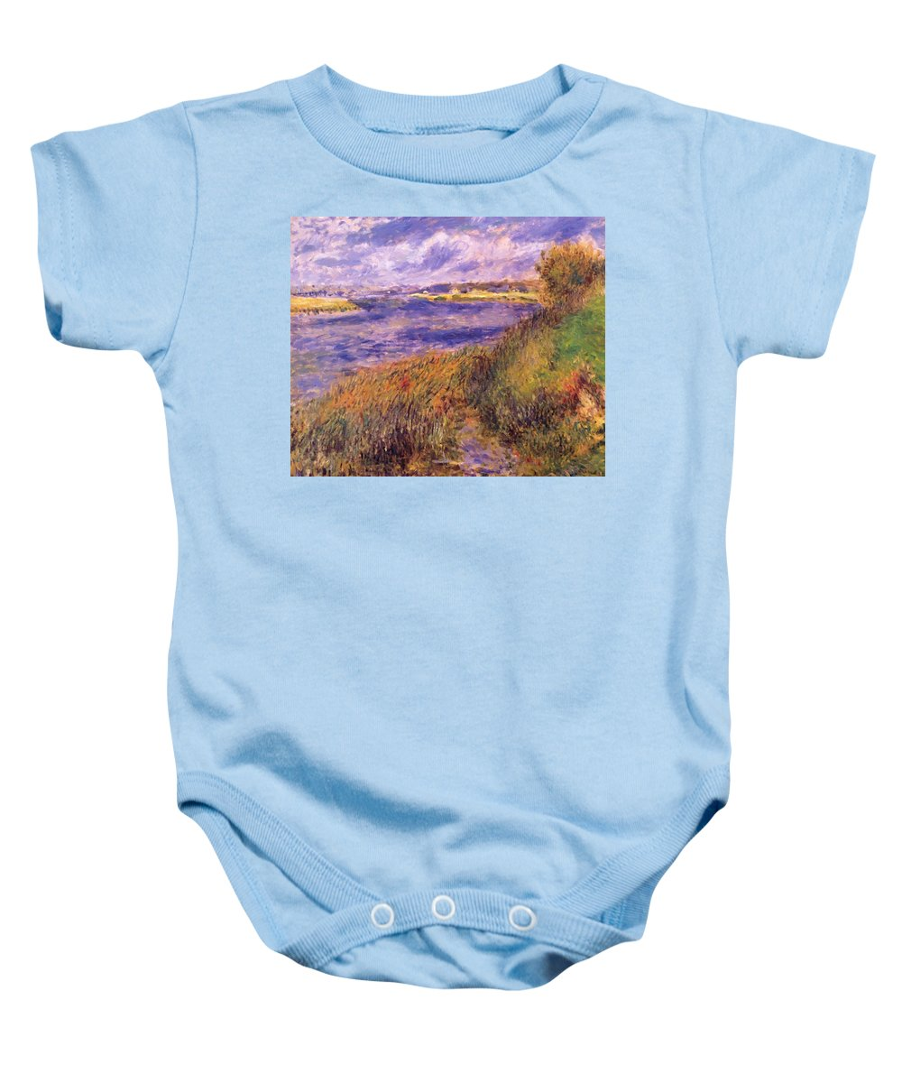 Banks Baby Onesie featuring the painting Banks Of The Seine At Champrosay by Renoir PierreAuguste