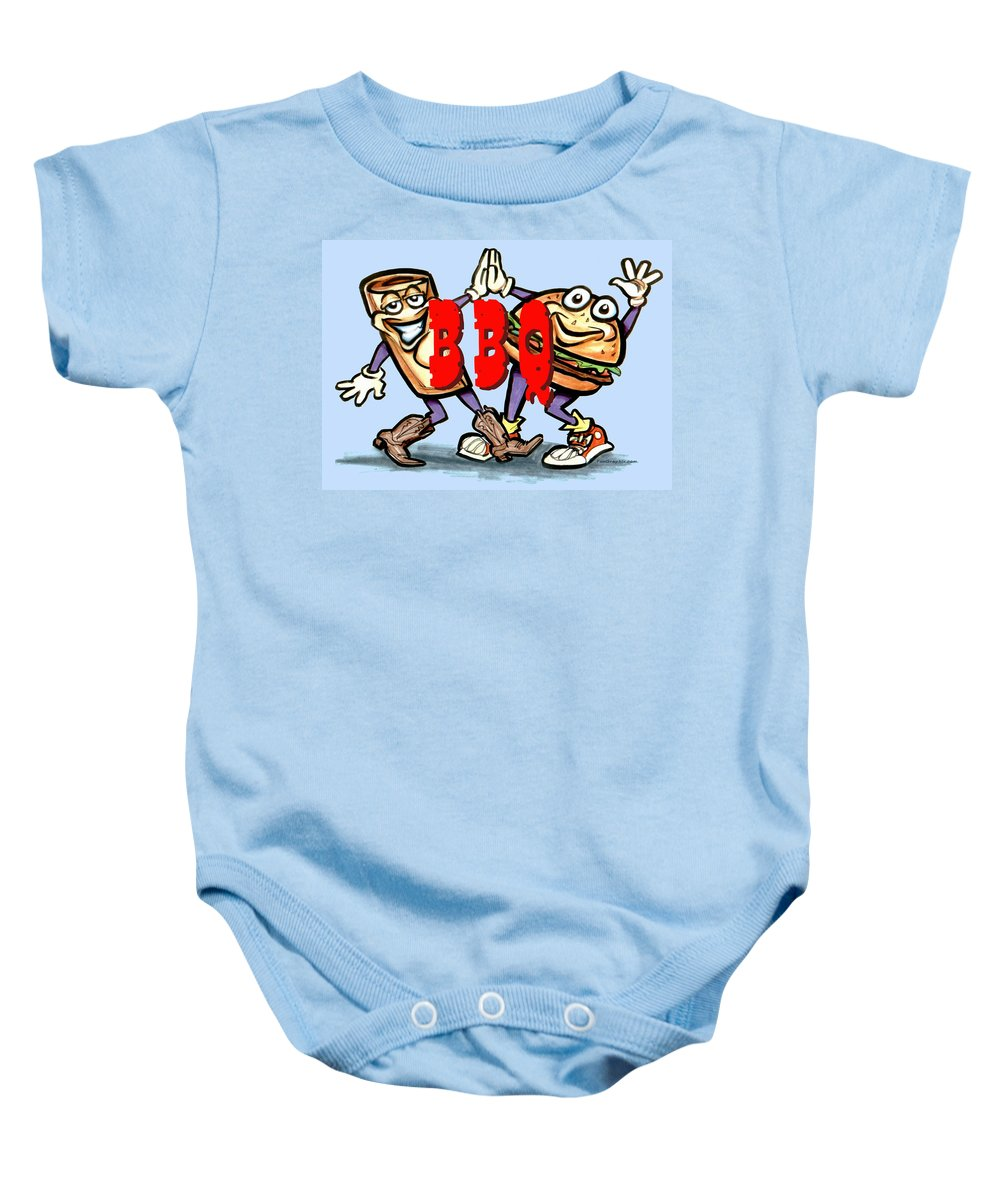 Bbq Baby Onesie featuring the greeting card Bar-b-q by Kevin Middleton