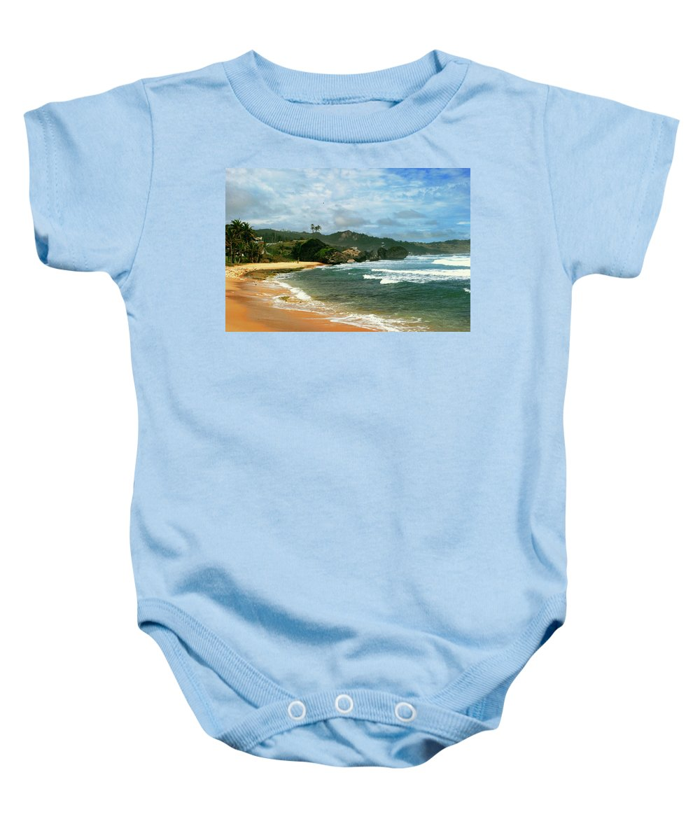 Beach Baby Onesie featuring the photograph Barbados Beach by Gary Wonning