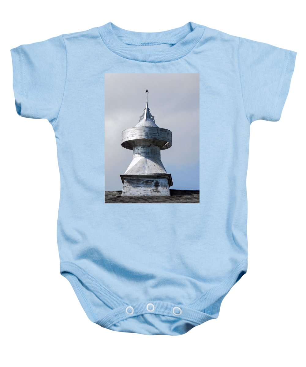 Barn Baby Onesie featuring the photograph Barn Cupola by William Tasker