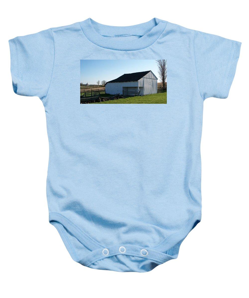 Barn Baby Onesie featuring the painting Barn Gettysburg Battle Field by Eric Schiabor