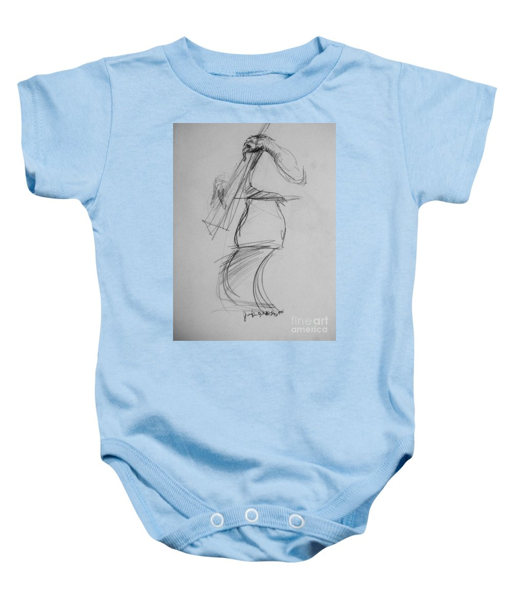 Bass Baby Onesie featuring the drawing Bass Man by Jamey Balester