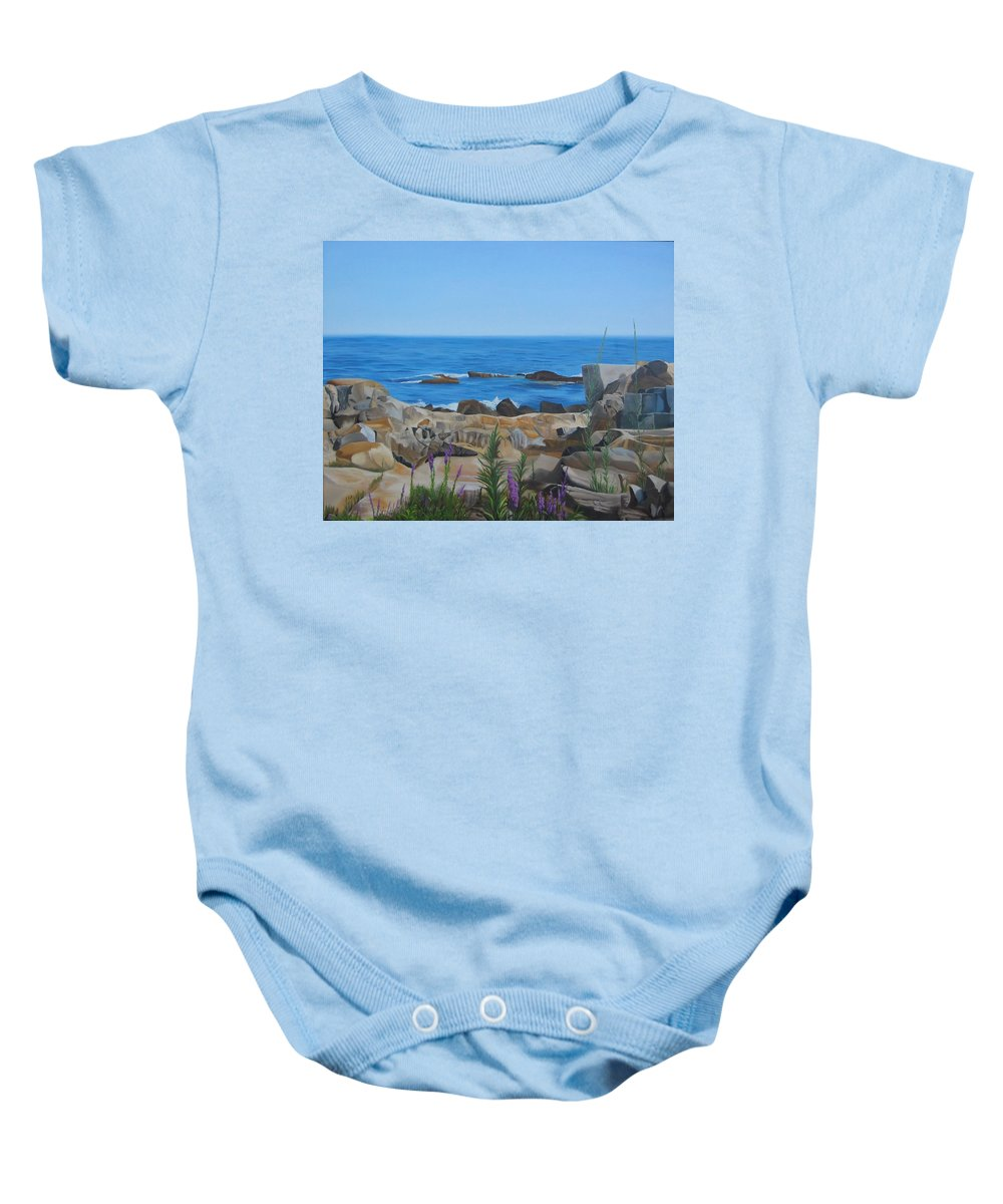 Seascape Baby Onesie featuring the painting Bass Rocks Gloucester by Lea Novak