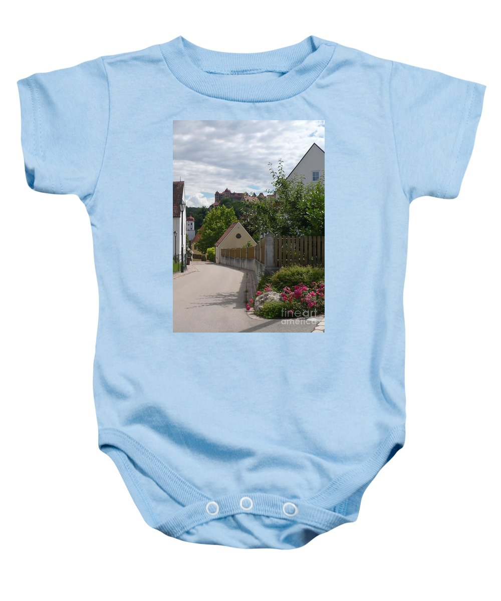 Castle Baby Onesie featuring the photograph Bavarian Village With Castle View by Carol Groenen